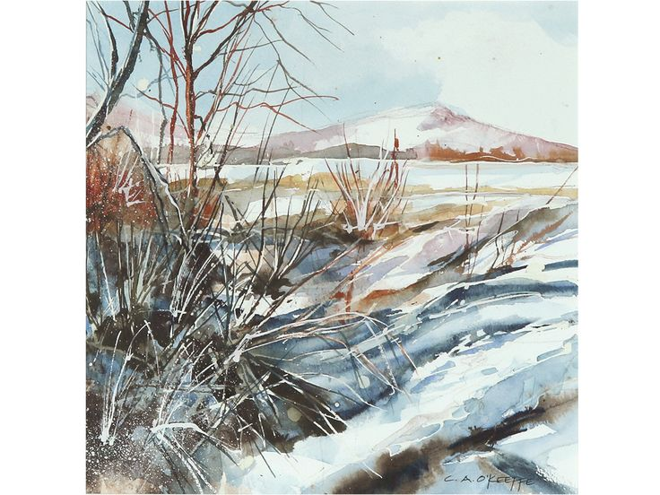 'Snow On The Struie' by Christine O'Keeffe. Original watercolour & ink.  #art #artforsale #buyart #watercolour #Watercolour #painting #scottishart #struie #scotland #snow #winter #forsale #buynow #framed