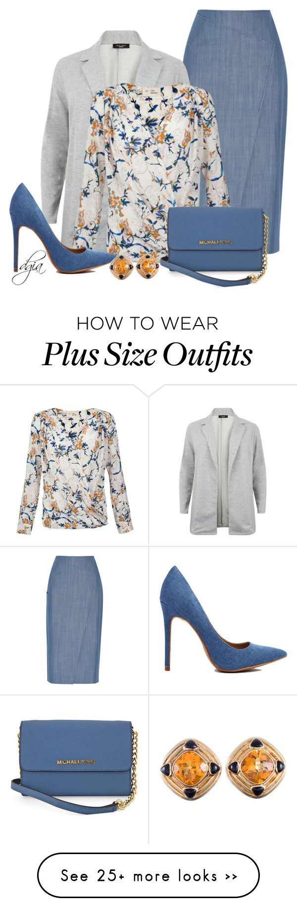 """Denim Skirt & Blazer"" by dgia on Polyvore featuring TIBI and Michael Kors"