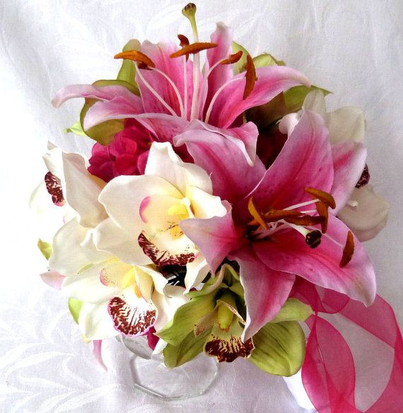 Orchid Bridal Bouquet set green hot pink by ChurchMouseCreations, $165.00