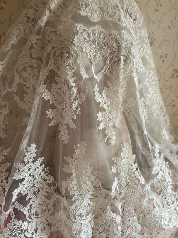 Flower Lace Fabric Rose Floral Embroidered Lace Wedding Bridal Lace Fabric Dress Gauze Tulle by the yard
