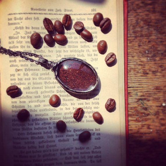 sale large coffee coffee necklace coffee jewelry  by MARIAELA