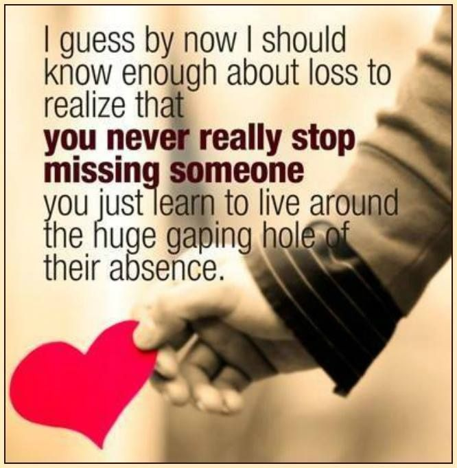 I guess by now I should know enough about loss to realize that you never really stop missing someone. You just learn to live around the huge gaping hole of their absence.