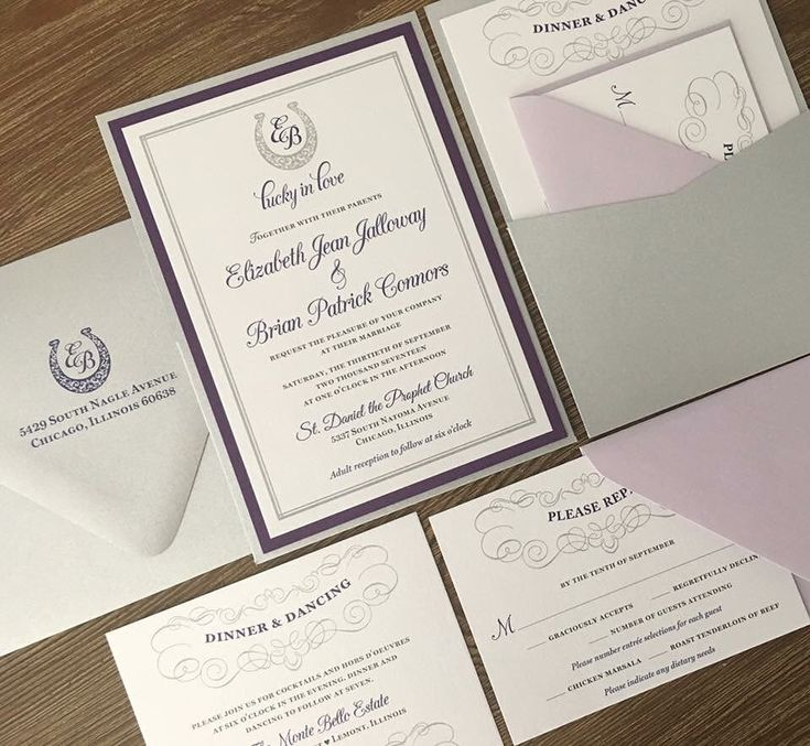 purple white silver wedding invitations%0A     to incorporate her passion for horse riding into her wedding theme  starting with her wedding invitations  These horseshoe monogramed purple  and silver