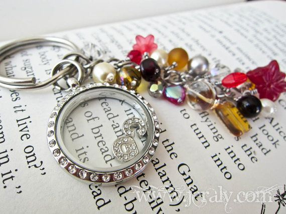 floating charm beaded keychain living locket with by
