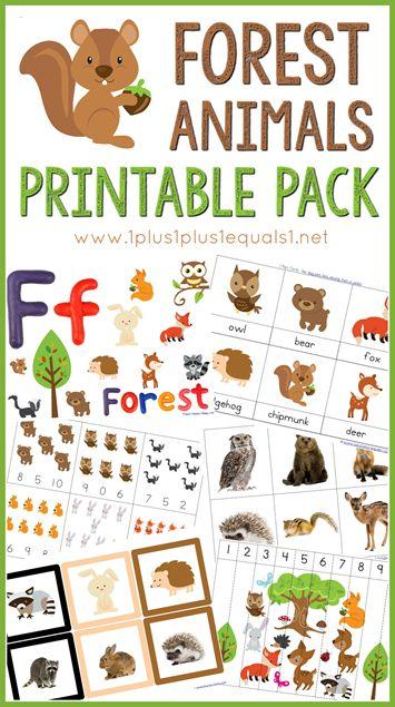 Free Forest Animals Printable Pack ~ great for Tot School, Preschool and Kindergarten!