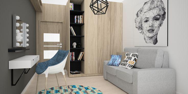 #drewnowpokoju jasny pokój, nowoczesne wnętrze, zabudowa z drewna
