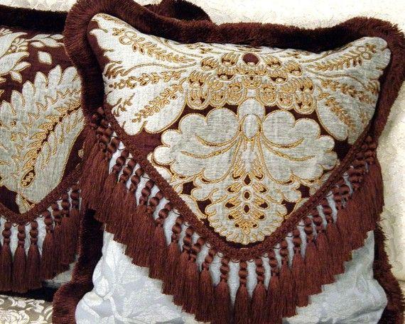 Designer Throw Pillows Brown Blue Aqua Old World Weavers Silk Velvet Fabric  Custom PILLOW ADDICT By Cabin Cove Creations