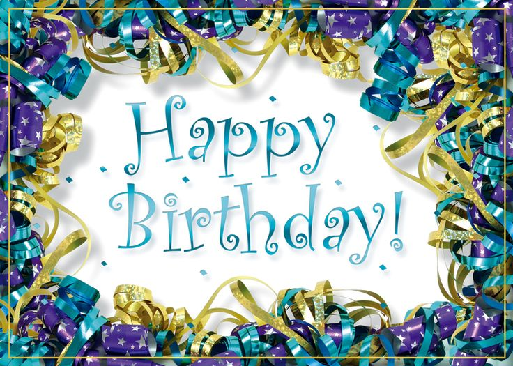 Birthday Ribbons A shiny teal foil birthday wish is surrounded by purple, teal and gold curled ribbons on this colorful and cheerful birthday greeting card.