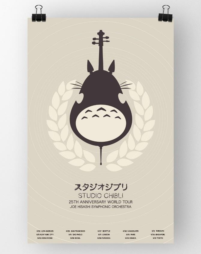 Studio Ghibli 25th Anniversary Poster by Brigittle La. Adorable and clean
