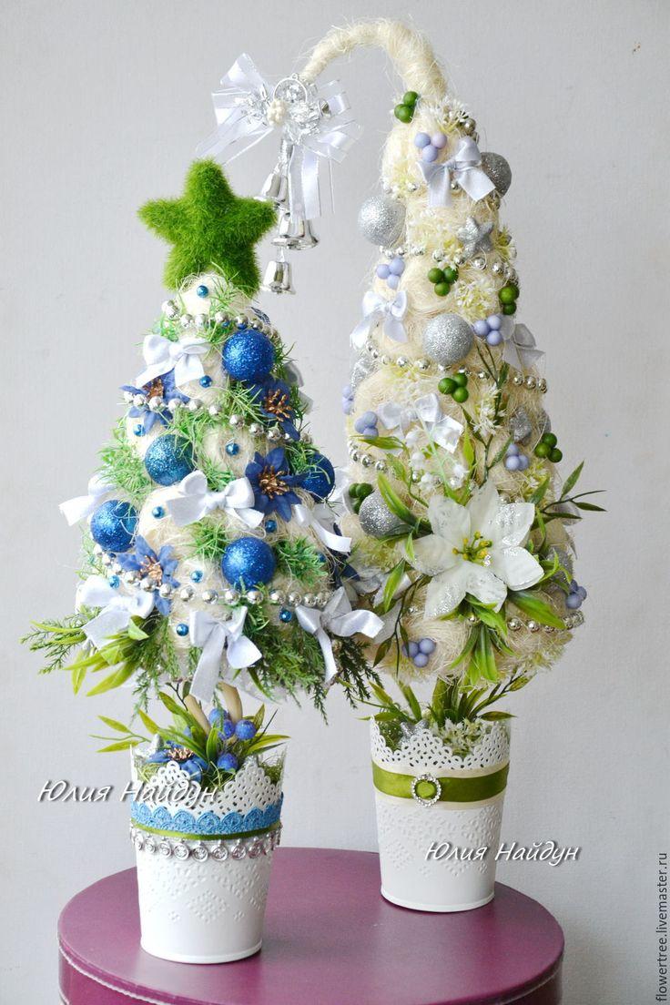 Купить Новогодняя дизайнерская елочка 53 см. - сизаль, елочка новогодняя, елочка из сизаля, елочка
