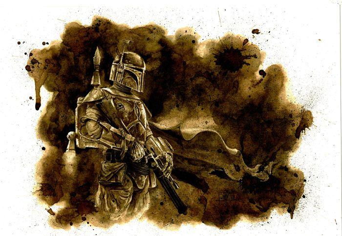 Catawiki online auction house: Original Coffee Drawing By Juapi - Star Wars - Boba Fett