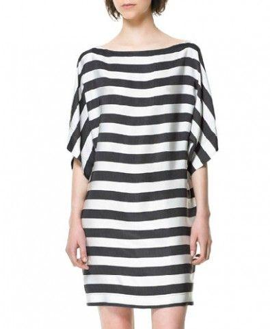 Mono Stripe Print Dress with Slash Neckline