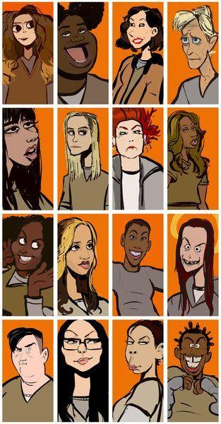 Nicky, Black Cindy, Morello, Yoga Jones, Flaca, Piper, Red, Sophia, Taystee, Daya, Poussey, Pennsatucky, Big Boo, Alex, Gloria, Crazy Eyes