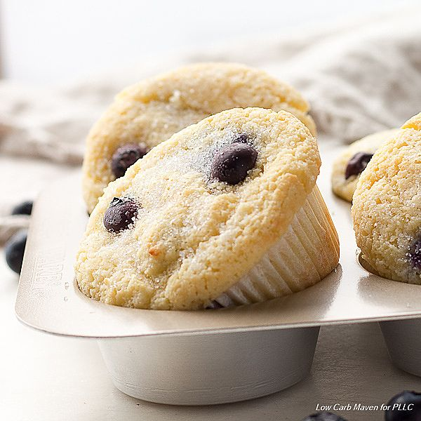 Keto blueberry muffins that have the texture of regular muffin. They're low carb and gluten free. At 4 net carbs per muffin, they're a great for a LCHF diet.
