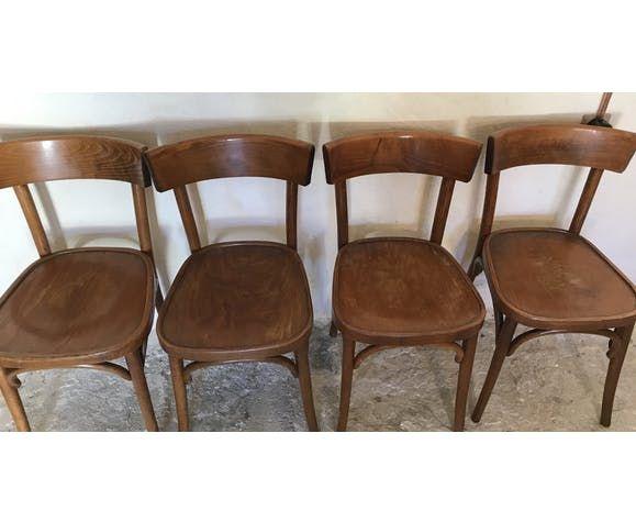 Quatre Chaises Bistrot Vintage Type Baumann Mi Xxeme Bois