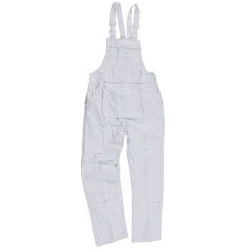 Castle White Bib 'n' Brace Overalls -   Castle Bib & Brace Overalls are manufactured from hard wearing 240 gsm Polyester/Cotton. Features of the Bib 'n' Brace Overalls include a Zip concealed under the placket, two side pockets, rule pocket, access slits with press studs, large back patch pocket, knee pad pockets. Overalls ideal for painters/decorators. Cotton straps with plastic clip fastenings.