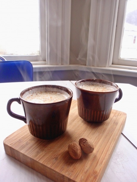 hot milk, honey + nutmeg (the best hot drink for those cold days, hands down)