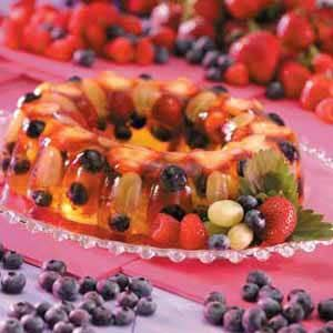 Sangria Gelatin Ring Recipe  can use white grape juice instead of white wine, recipe from Taste of Home