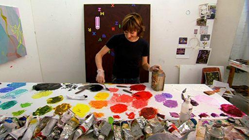 Artist Fiona Rae mixes paint