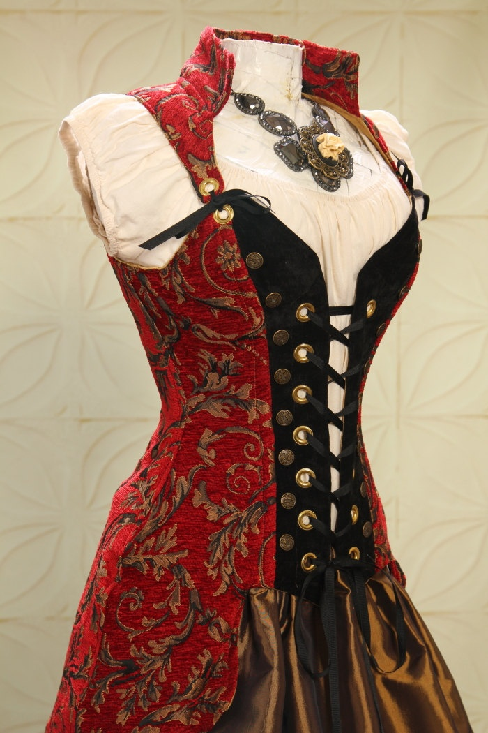 Waist 26 to 28 Red and Gold Swirl Buccaneer Pirate Coat. $325.00, via Etsy.