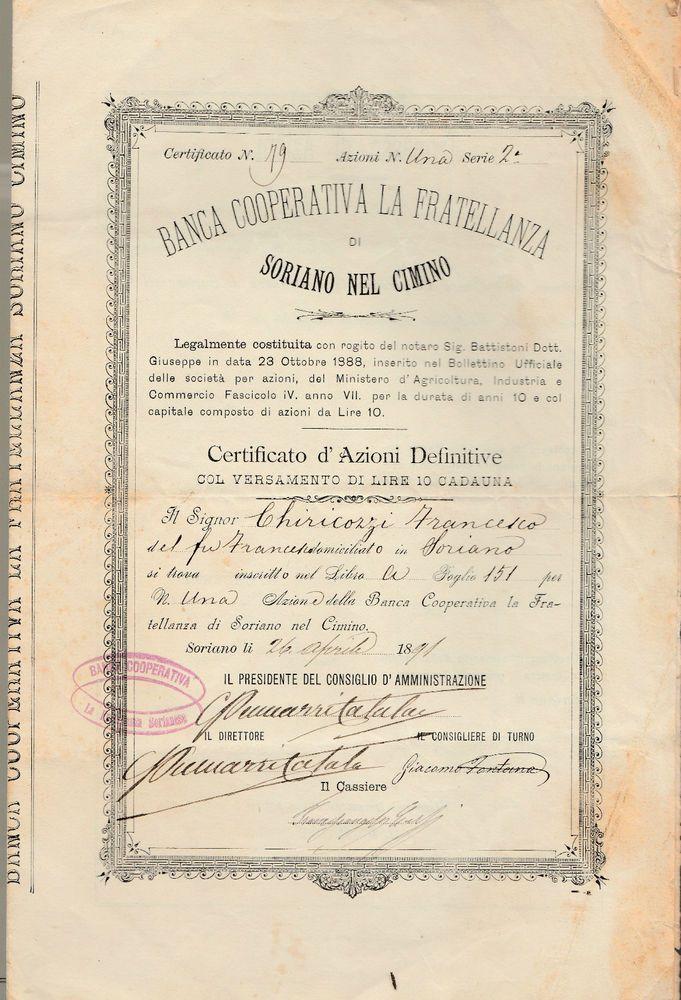 BANCA COOPERATIVA LA FRATELLANZA DI SORIANO NEL CIMINO-CERTIFICATO D AZIONI 1891