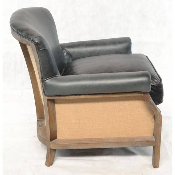 Charcoal Leather and Hessian Armchair  Stunning handcrafted armchair in a soft charcoal leather with hessian fabric back and sides. Beautiful wood framed chair that is comfortable and relaxing. Leather chairs never goes out of style. This chair is perfect for any room in your home.