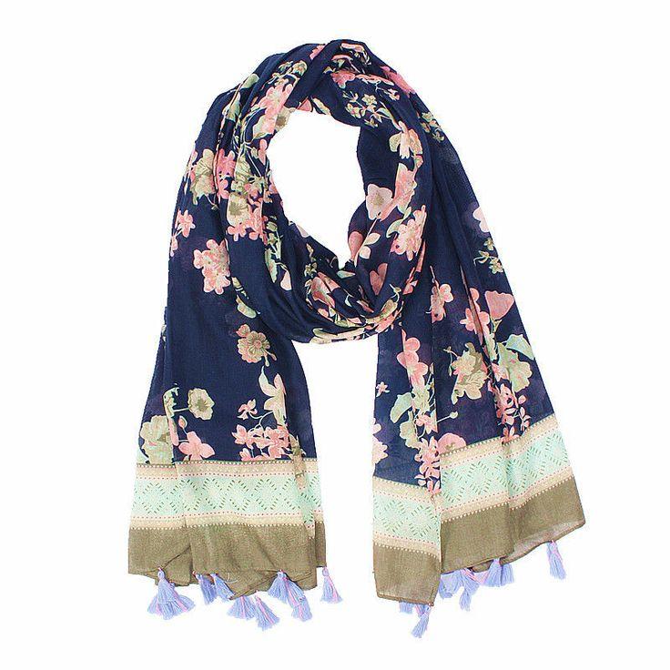 "Women's Printed Cotton Fashionsoft Large Beach Scarf Floral Shawl Wrap 35""71"""