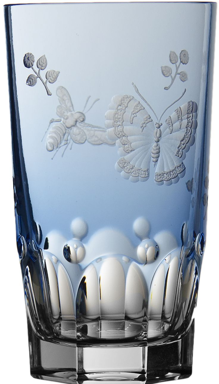 Varga Crystal Springtime Sky Blue Highball Glass