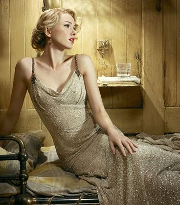 Naomi Watts' 30's  gold dress in King Kong.