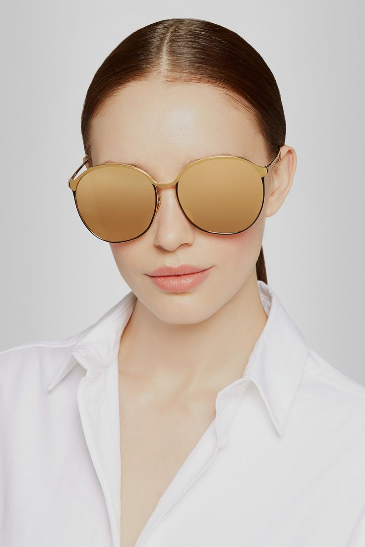 Linda Farrow Gold Plated Round Frame Mirrored Sunglasses