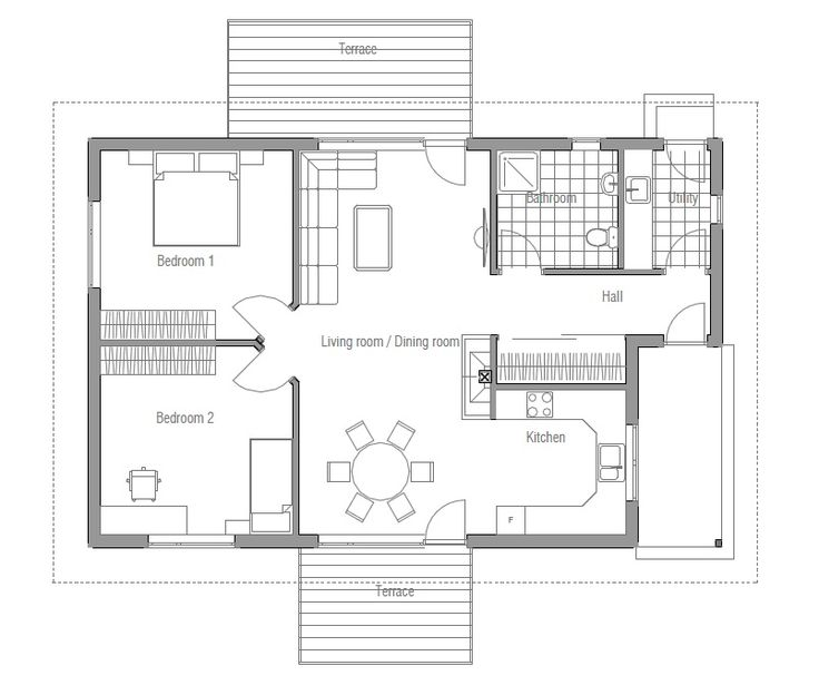 Two Bedroom Small And Affordable House Plans Floor Plan Ch93 From Two