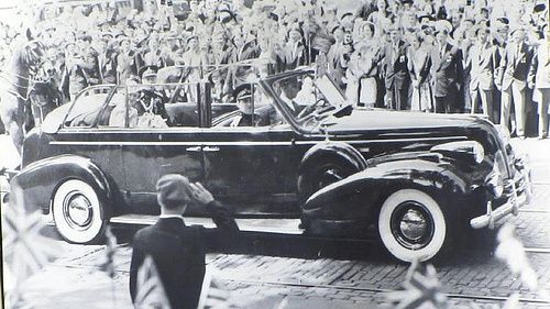 Old 1939 Photo from BC Archives Shwoing Buick McLaughlin in use by The Royal Family. Royal Buick McLaughlin S/N 1 Hand-Built in 1939 by General Motors. The car is on display at CN Roundhouse in West Coast Railway Heritage Park in Squamish BC