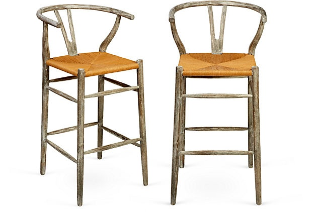Bar Stools W Driftwood Finish Pair On Onekingslane Com