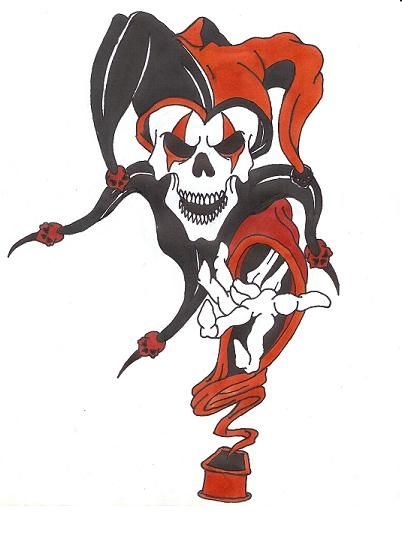 Color Dead Jester Tattoo Design