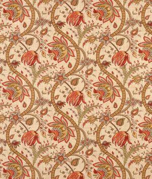P. Kaufmann - Biltmore Inn Crème Brulee - Floral Fabric -   $21.45/yd - cream fabric with orange, red, aqua, yellow & gold floral vine print