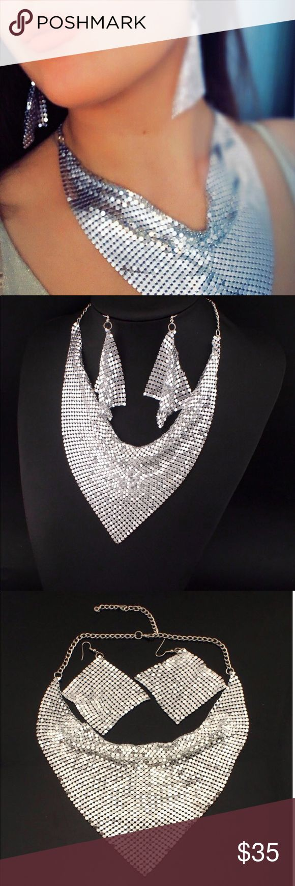 Silver Mesh Bib Necklace And Earrings A set of earrings and necklace. Silver mesh. Necklace perimeter approx 54 cm with 7 cm. Bib triangle approx 13 cm. ❤️❤️❤️❤️❤️❤️❤️❤️❤️❤️❤️❤️❤️❤️❤️❤️❤️❤️❤️❤️jewelry set, necklace and earrings set, silver mesh set, Jewelry