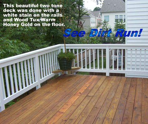 Two Tone White And Honey Deck Outdoor Deck Deck Colors