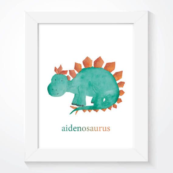 A delightful dinosaur wall art print. This colourful nursery print is personalised with your childs name and is illustrated with our playful watercolour dinosaur illustration, making the ideal wall art for any boys bedroom decor. Look out for the same range: