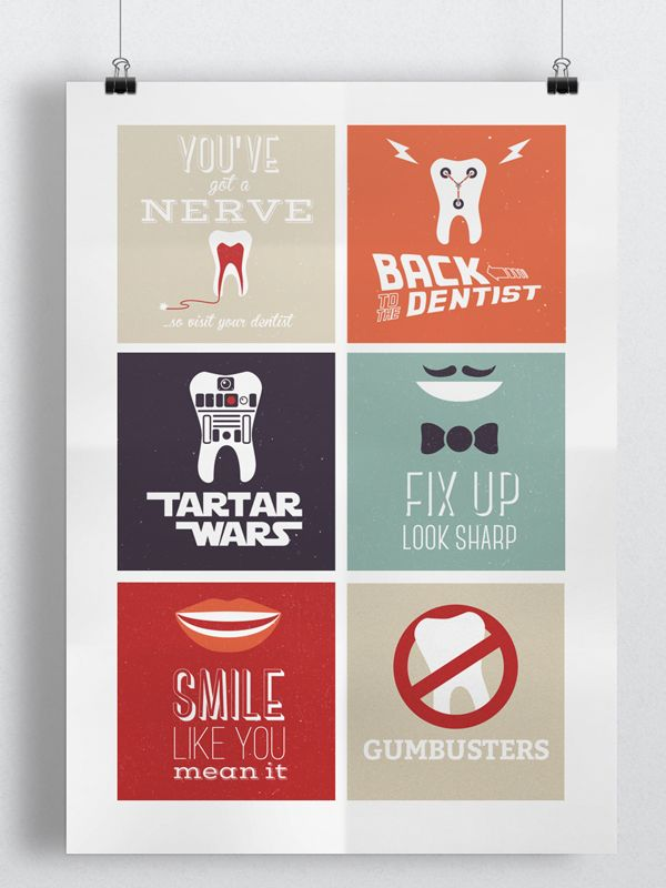 Ads for dental marketing campaign. Because everyone loves a good pun... #Illustration #Movies #Cinema #Film #Star Wars #BackToTheFuture #Ghostbusters #Music #Ads #Adverts #Postcards #Marketing #DentalMarketing