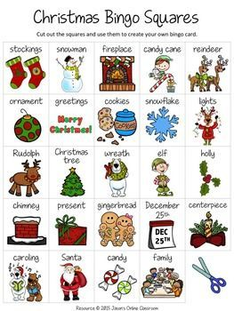 "Christmas Free Create Your Own Luck Bingo - This resource includes 24 Christmas related images and vocabulary words and a blank ""MY BINGO CARD"" template that students can use to create their own unique Christmas themed bingo cards.DOWNLOAD. PRINT. DONE!Related ResourcesChristmas I Have...Who Has?"