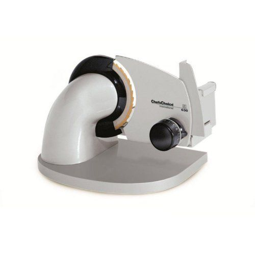 Chef'sChoice® 630 Gourmet Food Slicer by Edgecraft Corporation. $279.99. Fixed upright position. Thickness control from deli thin to 5/8-inch thick. Cast aluminum body and 7-inch stainless steel blade. 100W gear-driven universal motor. Professional-quality tabletop food slicer. Start slicing your own deli meats and cheeses with the pro-grade Chefs Choice 630 Gourmet Food Slicer. This stable, heavy-duty slicer features a 100-watt gear-driven ...