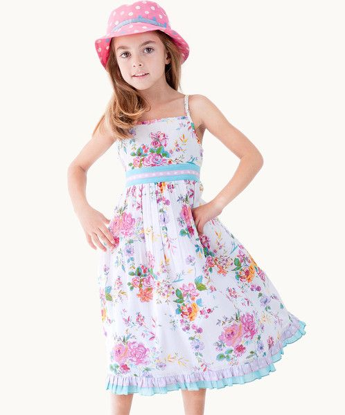 ADORABLE AMELIA PARTY DRESS $54 #fairtrade  This adorable Amelia floral party dress will provide a chic addition to your princess' occasion wear. This classic style features a contrasting polka dot trim and fabulous tie back sash, guaranteeing effortless ladylike style.