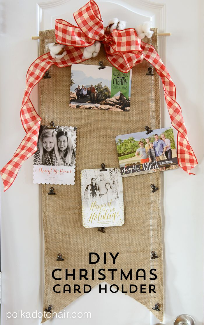 Tutorial for DIY Christmas Card Holder made from burlap and embellished with ribbon. Uses clips to attach cards to holder. Easy and no sew project from @polkadotchair