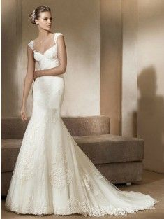 Trumpet/Mermaid Off-the-Shoulder Chapel Train Tulle Sleeveless Wedding Dress With Lace