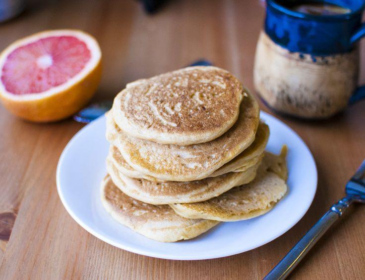 Easy Fluffy Vegan Pancakes: 1 c whole wheat flour, 1 1/4 c soy milk or non-dairy, 2 TBLS fresh lemon juice, 2 tsp sugar, 1 tsp vanilla, 2 tsp baking powder, 1/4 tsp baking soda. 7-27-14