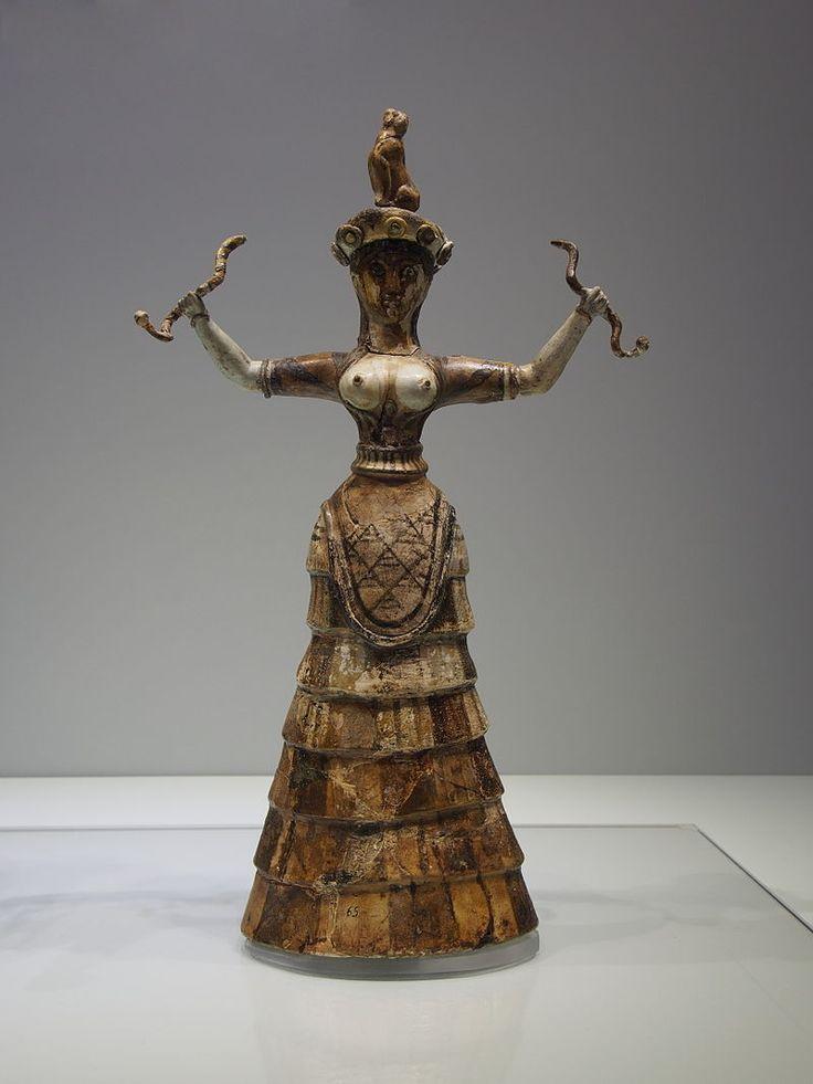 """Snake Goddess"" or a priestess performing a ritual. - Minoan civilization - Wikipedia, the free encyclopedia"