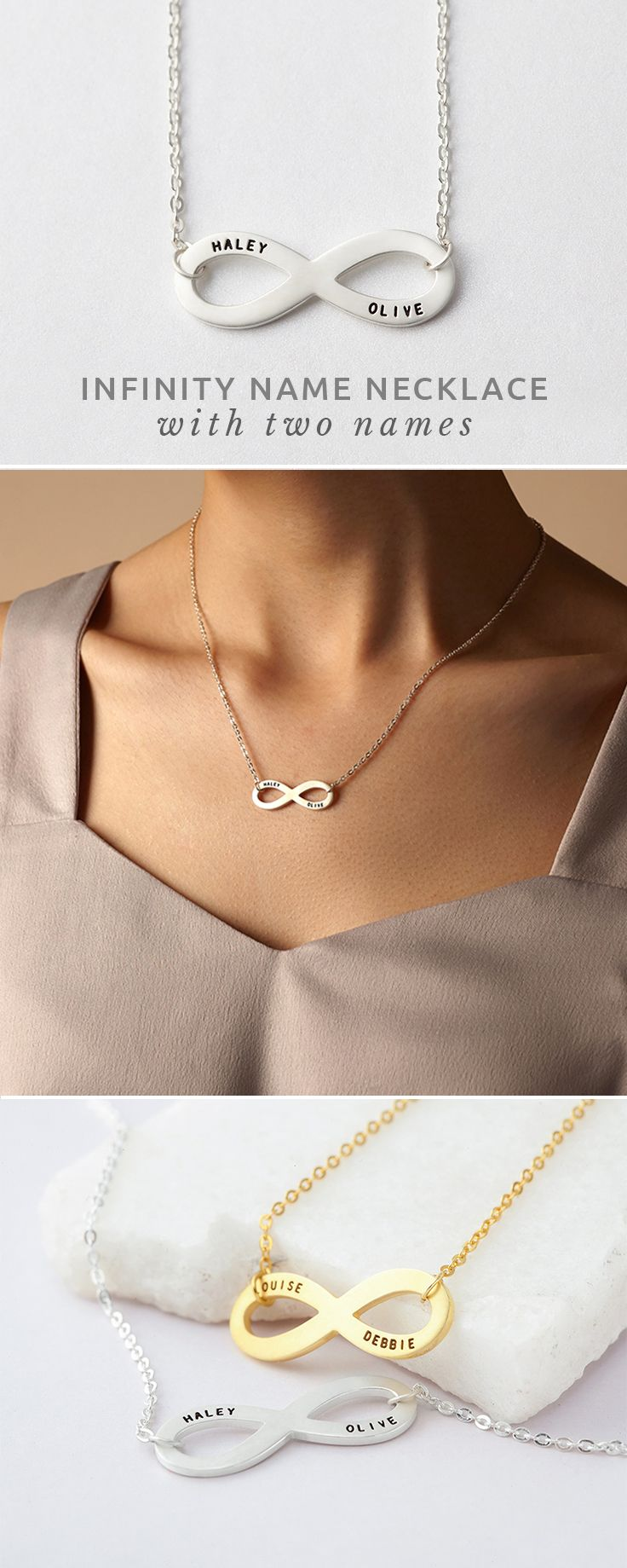 Infinity necklace with names • Infinity name necklace • Infinity jewelry • Infinity necklaces • infinity necklace for her • infinity necklace silver • gold infinity necklaces • infinity necklace for mom • infinity jewelry best friend gifts • will you be my bridesmaid gifts • ideas for bridesmaid gifts • birthday presents for wife • sentimental gifts for friends • mother's day gift ideas for mom • gift ideas for sister • best mother gifts • best mothers day gifts for mother in law • high…