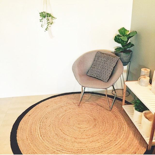 Loving the jute rug combined with plant stand and concrete egg pot. THE NEW KMART HACKS: ROUND THREE