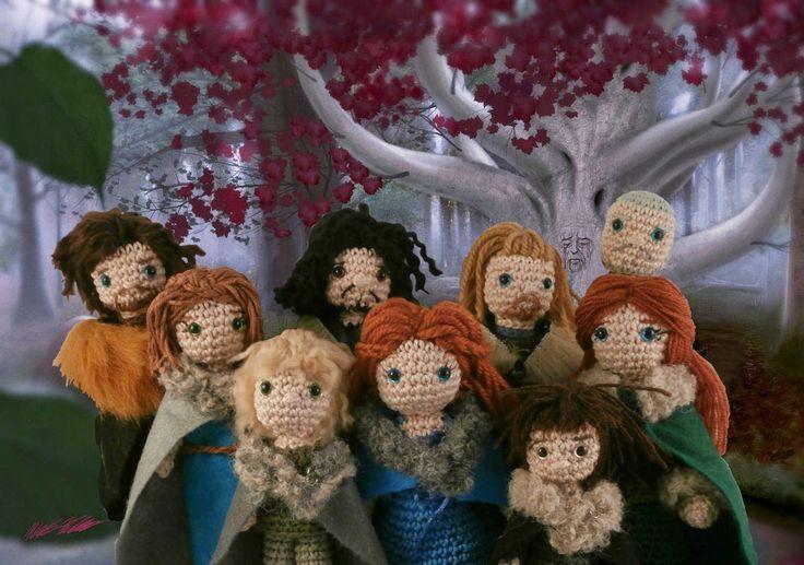 The Stark family and Hodor (Game of thrones amigurumi) Moñacos, cosicas y meriendacenas