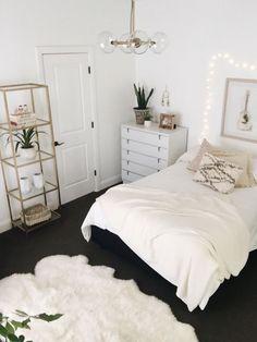 Bedroom with dark carpet